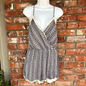 Trixxi blue and white romper size Large